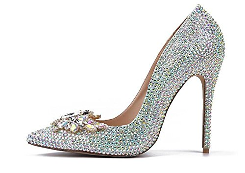 XIE Zapatos de Mujer de Dama de Honor de Banquetes Zapatos de Tacón Alto, Dazzle Color, 38 DAZZLECOLOR-38