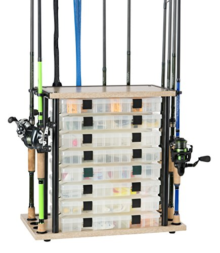 "Organized Fishing Mini Typhoon Floor Fishing Rod Storage Rack, Open Slots for 8 Utility Boxes and 12 Rods, Fishing Organizer Storage Solution, 21.3"" x 20.2"" x 11.8"", Distressed Wood Finish (CDMT-008)"