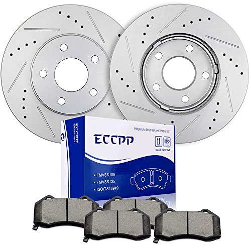 ECCPP Front 276mm Discs Brake Rotors and Ceramic Brake Pads for 2008-2010 Chevrolet HHR - 276 Mm Front Disc