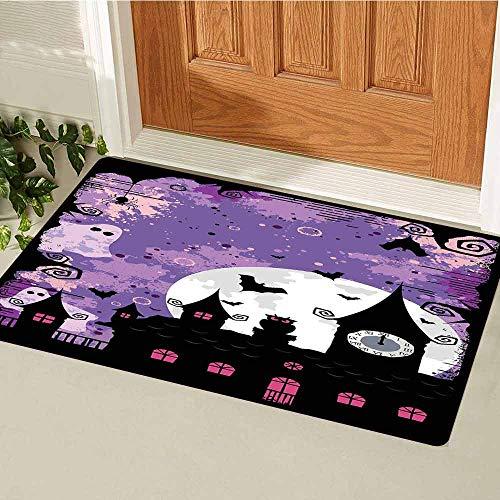 GloriaJohnson Vintage Halloween Front Door mat Carpet Halloween Midnight Image with Bleak Background Ghosts Towers and Bats Machine Washable Door mat W23.6 x L35.4 Inch Purple Black]()