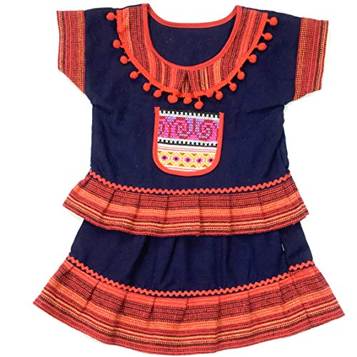 Unique Woven Cotton Ethnic Thai Girl top and Skirt Hand Made Embroidered Costume Traditional 2-3 Year Old ()