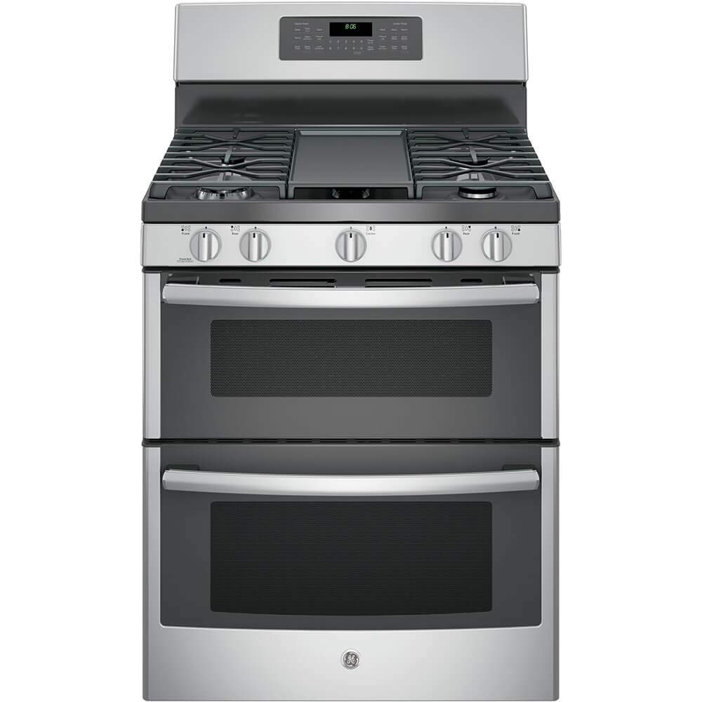 """GE JGB860SEJSS 30"""" Stainless Steel Gas Sealed Burner Double Oven Range - Convection (Certified Refurbished)"""