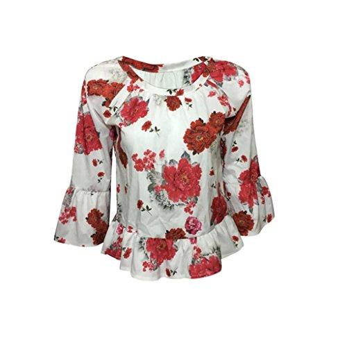 Femmes Chemisier, OverDose Sexy Tops Trois Quarts Manche Fleur Imprimé Chemisier DéContractéE T-Shirt