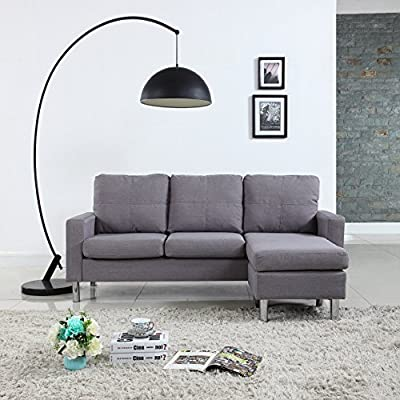Moderne Livinf Reversible Linen Fabric Sectional Sofa, Light Grey - Small space reversible sectional sofa Hand picked linen fabric upholstery in soft colors to fit any decor Perfect for small studio apartments or 1 bedroom - sofas-couches, living-room-furniture, living-room - 51lDbs%2BF2SL. SS400  -