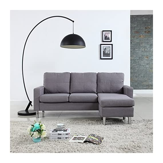 Moderne Livinf EXP16-LGR Modern Living Reversible Linen Fabric Sectional Sofa, Light Grey -  - sofas-couches, living-room-furniture, living-room - 51lDbs%2BF2SL. SS570  -