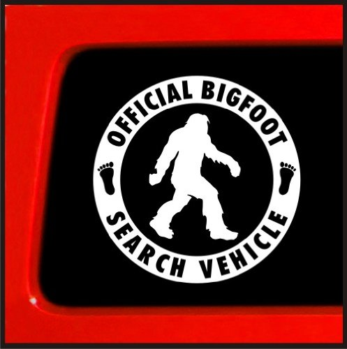 "Sticker Connection | Official Bigfoot Search Vehicle Bumper Sticker Decal for Car, Truck, Window, Laptop | 4"" (White)"