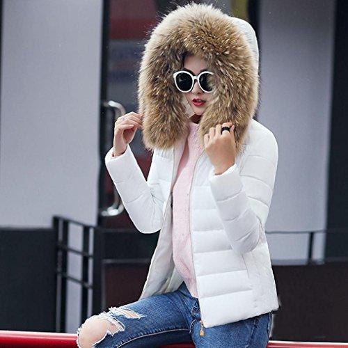 Inverno Sottile Donne Mml Con Caldo Cappuccio Bianco Cappotto Piumino Solido Spessore Moda Soprabito 7XZac7