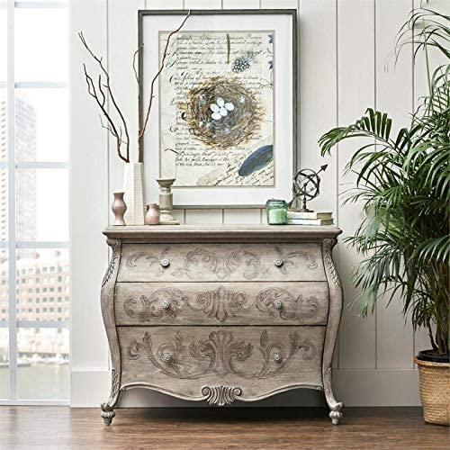 Home Fare Ornate Three Drawer Accent Chest in Rustic Brown