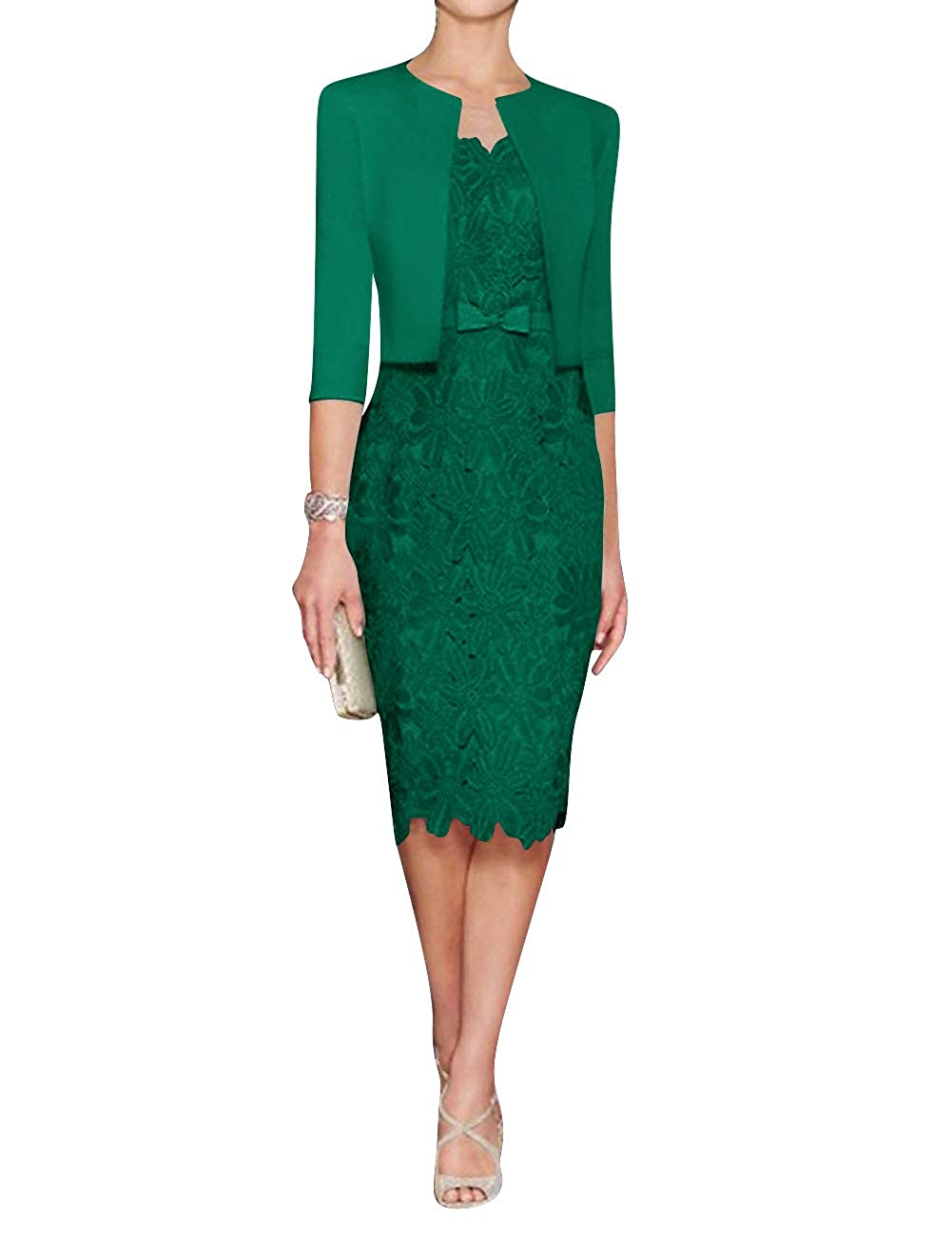 Emerald H.S.D Mother of The Bride Dress Sheath Mother Dress Lace Formal Dresses Satin Jacket