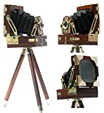 Antique Vintage Look Film Camera Wooden Tripod Collectible Studio Gift Item Brown Color