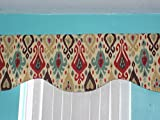 Handmade Ikat Red Gold Brown Scalloped Window Treatments Curtain Valance