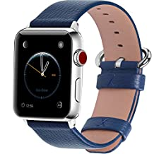 15 Colors for Apple Watch Bands 42mm and 38mm, Fullmosa Yan Calf Leather Replacement Band/Strap with Stainless Steel Clasp for iWatch Series 0 1 2 3 Sport and Edition Versions 2015 2016 2017, 42mm Dark Blue