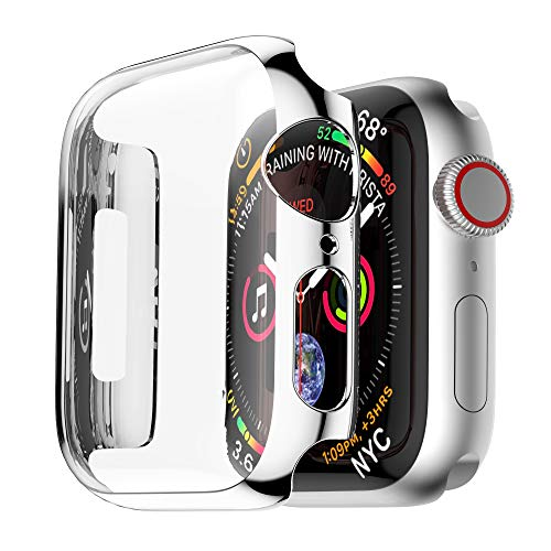 Coobes Compatible with Apple Watch Case Series 4 44mm 40mm, Ultra-Thin PC Plating Bumper with Clear Screen Protector Full Cover Shell Slim Lightweight Frame Compatible iWatch (Silver, ()