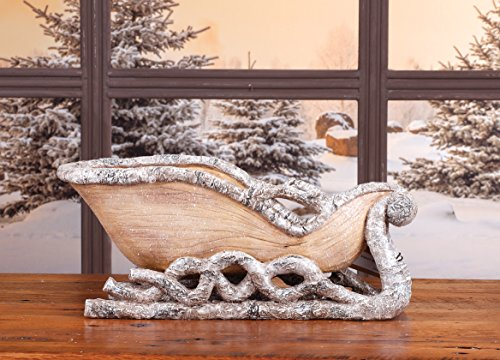 Metallic Silver and Birch Sleigh 6 x 13 Resin Stone Christmas Table Top Figurine
