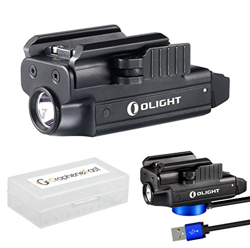 OLIGHT PL-Mini Valkyrie 400 Lumens Rechargeable Pistol Light with Cree LED and Magnetic USB Charger, Bundle GrapheneFast Battery Case ()