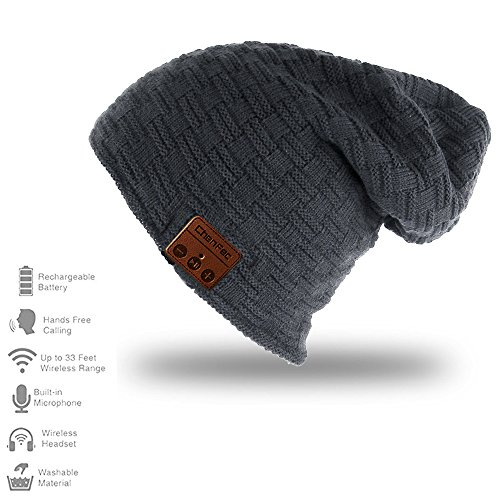 CFZC Bluetooth 4.2 Beanie Hat Wireless Headphone Beanie Caps Built-in Mic Speaker Hands-free for Women Men Outdoor Sports--Dark Gray