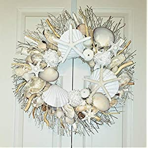 "21"" Sea Shell Wreath on Birch Twig with Large Clams, Star Fish, Sea Urchins in 4 Designs 118"