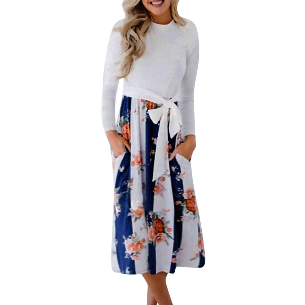 Womens Casual Stripe Printing Round Neck Long Sleeve Belted Evening Party Midi Maxi Dress (Blue, L)