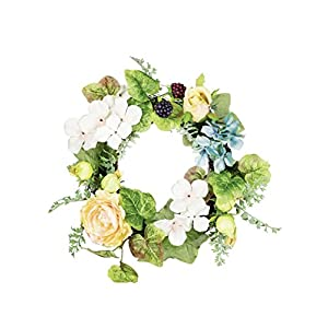 "Sullivans 6"" Artificial Yellow Rose & Hydrangea Wreath 15"