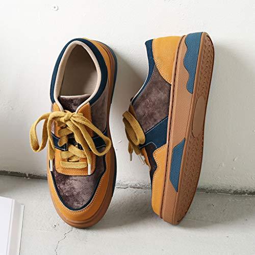 de Orange Moda Zapatillas Arriba Fondo Cuero de la PU Atan Plano de Estudiante de Las la Deporte Zapatos SHI para Respirable de los de Zapatos Casuales Universidad la Estilo 4w5cfPzXqn