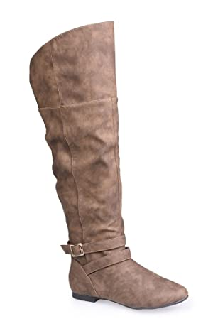Twisted Women's Shelly Wide Width Over The Knee Faux Leather Fashion Riding Boot- TAUPE, Size 11