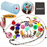 ENINFUT 26PCS Cat Toys Kitten Toys Assortments, 2 Way Tunnel, Variety Pack for Mice, Bell Crinkle Balls, Interactive Feather Wand, Cat Teaser Toy and Spring, Cat Toys Set for Cat, Puppy, Kitty, Kitten