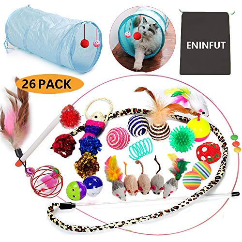 ENINFUT 26PCS Cat Toys Kitten Toys Assortments, 2 Way Tunnel, Variety Pack for Mice, Bell Crinkle Balls, Interactive Feather Wand, Cat Teaser Toy and Spring, Cat Toys Set for Cat, Puppy, Kitty, Kitten by ENINFUT