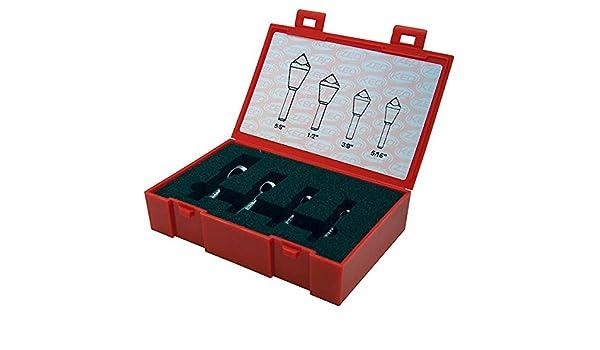 "Keo 53529 5 Pc 5//16/""-1/"" 90° M35 Cobalt Zero Flute Countersink /& Debur Tool Set"