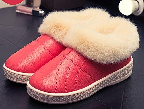 Idifu Womens Heren Warm Namaakbont Indoor Outdoor Gesloten-back Slippers Laarzen Perzik