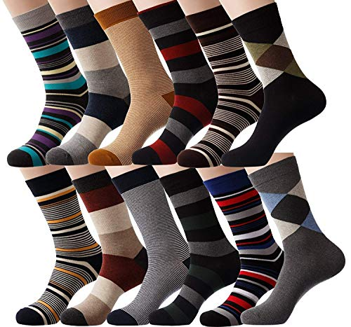 YourFeet Men's 12 Pairs Cotton Colorful Stripe Argyle Designed Business Dress Socks Gift Size 9-12 (Assorted-1)