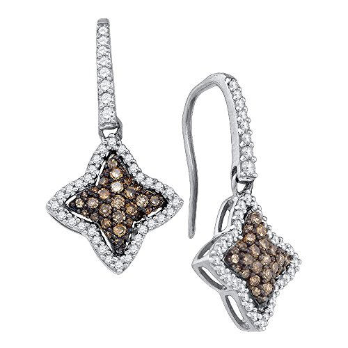 (10k White Gold Round Chocolate Brown Diamond Star Dangle Earrings (5/8 Cttw))