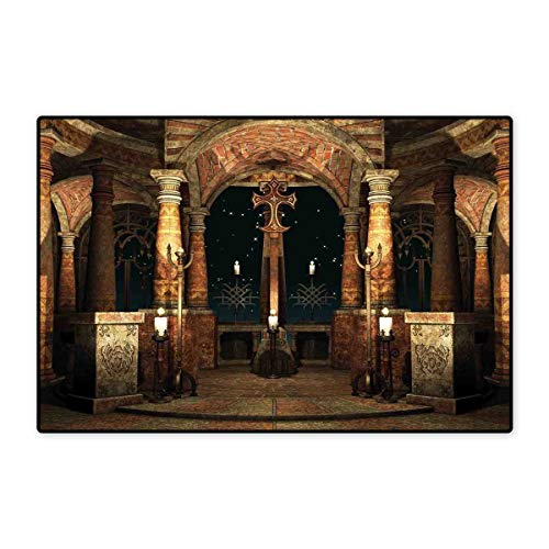 Gothic Floor Mat for Kids Dark Mystic Ancient Hall with Pillars and Dome Shrine Building Illustration Floor Mat Pattern 32
