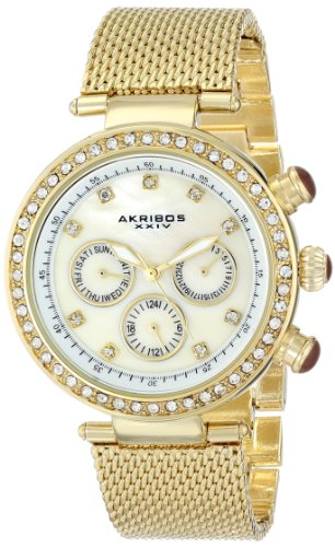 Pearl Quartz Watch - Akribos XXIV Women's AK682YG Lady Diamond Quartz Multifunction Crystal Mother-of-Pearl Gold-tone Stainless Steel Mesh Bracelet Watch
