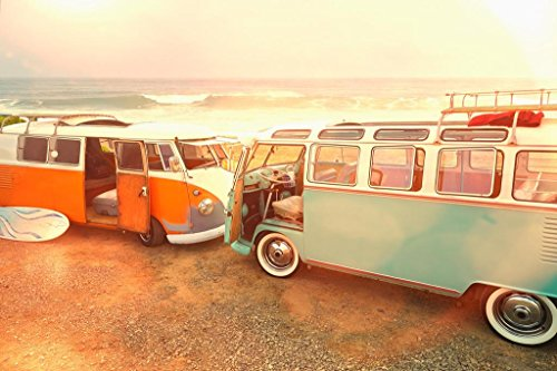 Vintage Vans Parked on Beach Photo Print Stretched Canvas Wall Art 24x16 inch