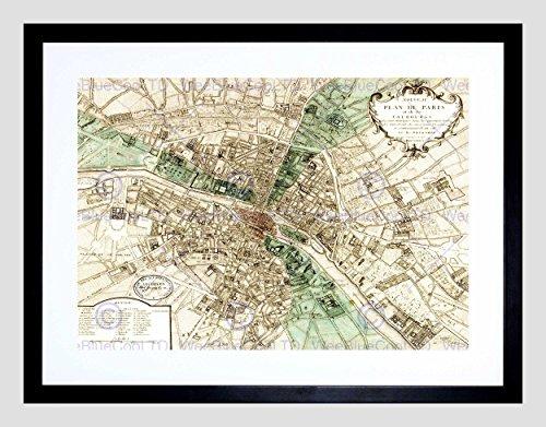MAP Plan DE Paris France New Black Frame Framed Art Print Picture B12X11028