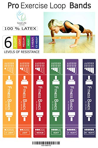 Pro Exercise Loop Resistance Bands Set – 6 Extra Wide Resistance Loop Bands Prevent Folding, Twisting | Anti-Snap Resistance Band Design | Workout Bands for Resistance Training, Pilates Training For Sale