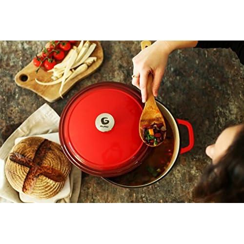 Guro Enameled Cast Iron Round Dutch Oven Casserole, 6.3 QT / 6 Liter, Red