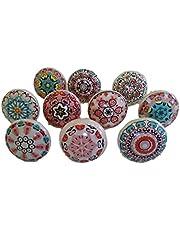 Mix van keramische knoppen in vintage-look, 10 stuks, bloemendesign, handgrepen voor deuren, kasten en schuifladen.