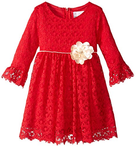 Rare Editions Little Girls' Lace Dress Size Toddler, Red, 4T (Christmas Dress Editions Rare)