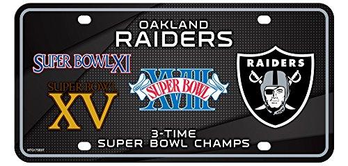 Oakland Raiders 3X Super Bowl Champions Aluminum License Plate Tag Football (Bowl 3x Super)
