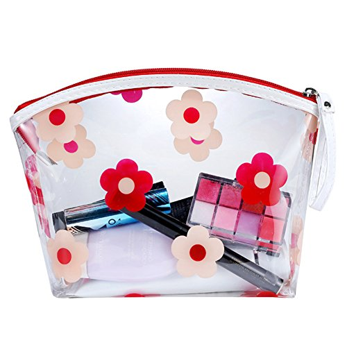 L F Handing Cosmetic Toiletry Cases Travel Bag For Womens Flowers Printing And Clear