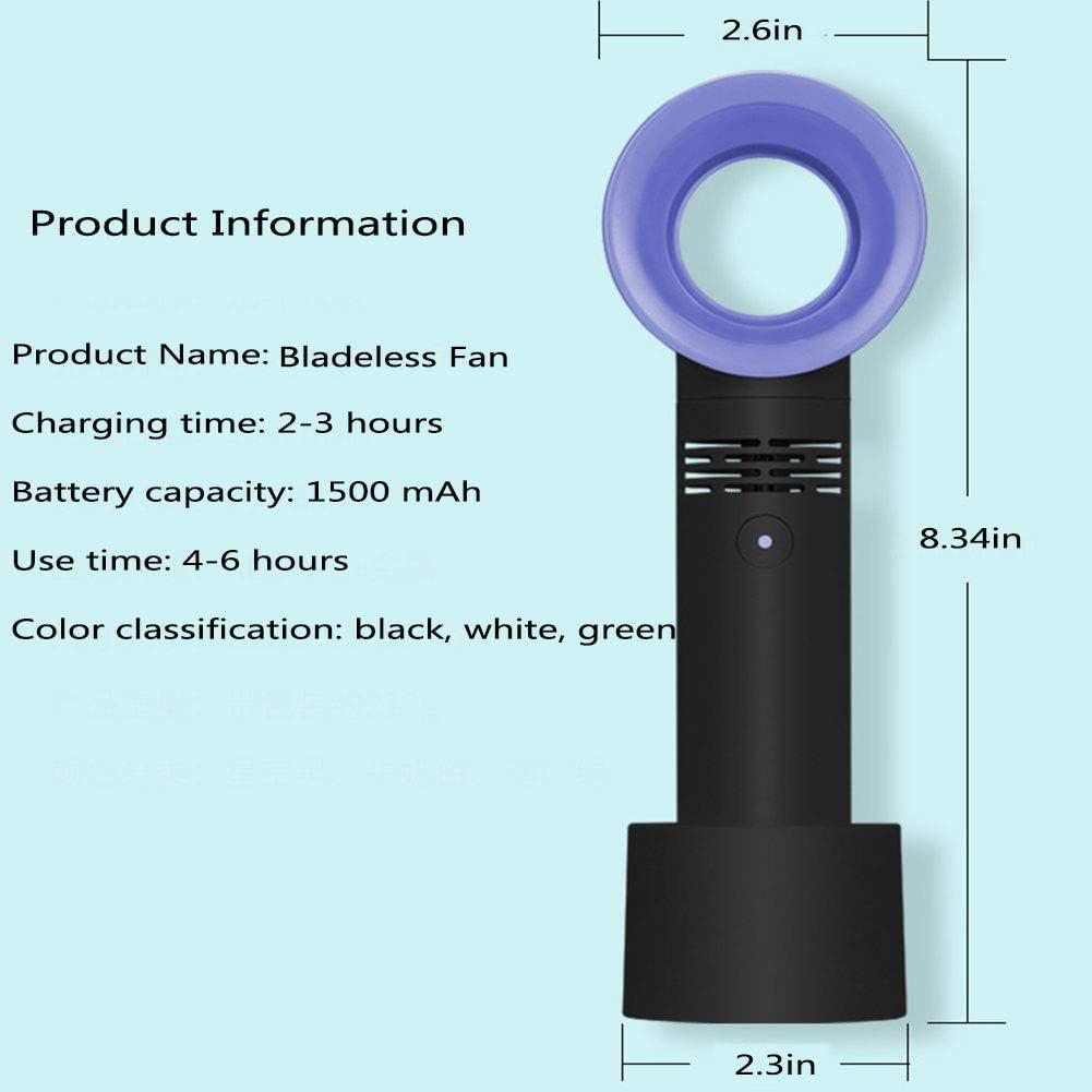 WZF Mini Ventilatore Senza Lama USB Ventilatore di Raffreddamento Portatile Silenzioso Portatile Elettrico per Ufficio Home Desk Viaggi Campeggio Estate Bambino, Verde White