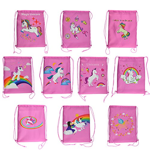 Rantanto 10 Pieces Double Sided Unicorn Drawstring Backpack Bags Party Favor Bags