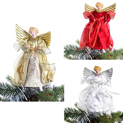 Costyleen Christmas Angel Figure Decoration Treetop Ornament Small Doll Toy Gift Festival Home Decor Xmas Tree Topper 3pc 8in - Red Gold ()