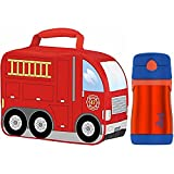 Thermos Firetruck Novelty Soft Lunch Kit with Insulated 10-Ounce Straw Bottle (Orange/Blue)