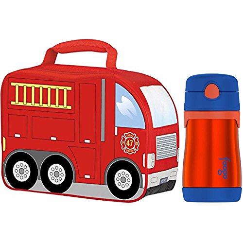 Thermos Novelty Lunch Kit w/ Drink Bottle (Fire Truck K2) Fire Truck Lunch Box
