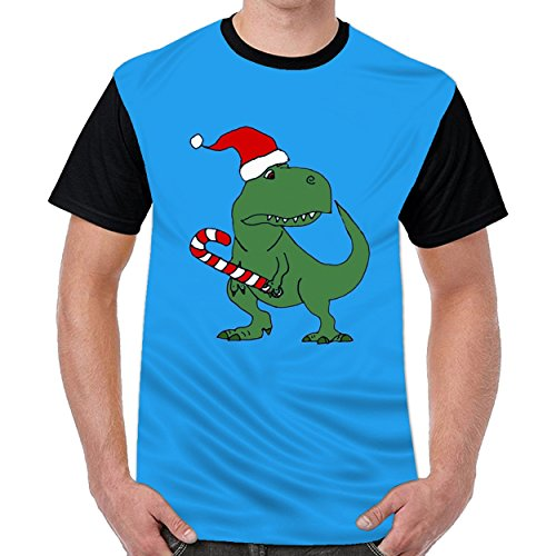 MordenCabin Funny T Rex Dinosaur In Santa Hat Mens Cool Round Neck t Shirts Top Blouse Shirt Royal Blue