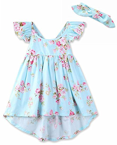Girl Blue Floral Skirt (AOVCLKID Girls Vintage Floral Dress Kid's Summer Straps Beach Skirt (Blue,4T))