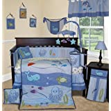 Custom Baby Bedding - Under The Sea 14 PCS Boy Crib baby Nursery Bedding Set Include Music Mobile