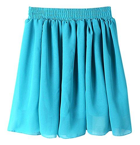 AM CLOTHES Womens Tall Waist Double-layer Chiffon Short Skirts One Size Light Blue